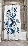 iDesign Leaves Duschvorhang, Designer Duschvorhang in der Größe 183,0 cm x 183,0 cm, schickes Duschvorhang Motiv mit Blättern, Polyester marineblau/grau