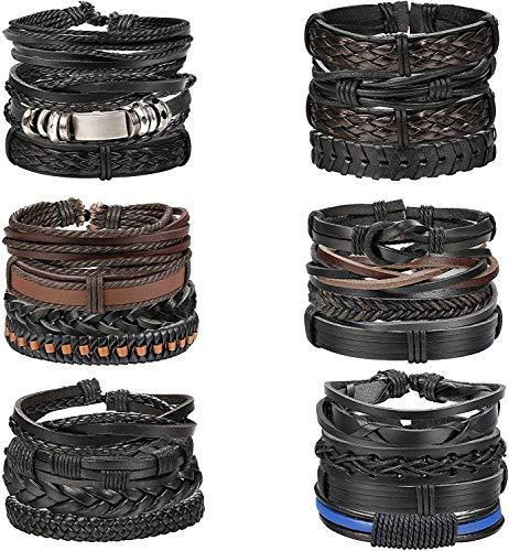 YADOCA 24 STÜCKE Geflochtene Leder Armbänder für Herren Frauen Punk Seil Armband Manschette Armbänder Wrap Set