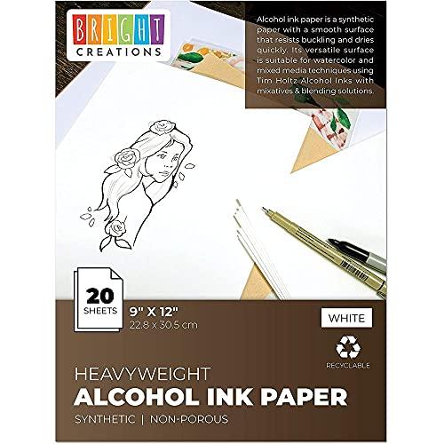 20 Blatt Papier - Recyclebar - Ideal für die Verwendung mit Aquarellfarben, Alkoholtinte - Perfekt zum Malen und Basteln - Weiß, 22,8 x 30,5 cm
