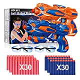 Holiky 2 Pack Blaster Toy Guns for Boys for Nerf Guns Bullets ,Foam Bullet Toy Gun with 60 PCS Refill Darts and 2 Protective Glasses for Kids, Hand Gun Toys for 3-8 Year Old Boys Girls