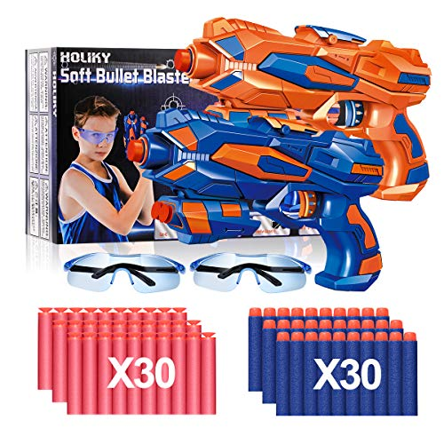 Holiky 2 Pack Blaster Toy Guns for Boys for Nerf Guns Bullets ,Foam Bullet Toy Gun with 60 PCS...
