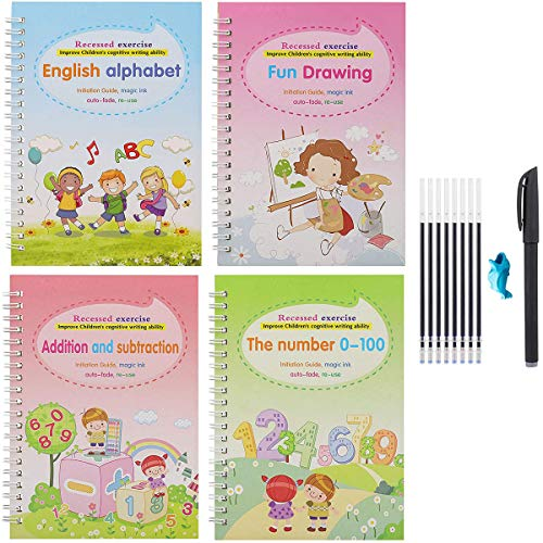 4 PCS Magic Practice Copybook English for Kids Reusable Magical Copybook Kids Tracing Book for Handwriting Magical Letter Writing Book with Magic Pen Set