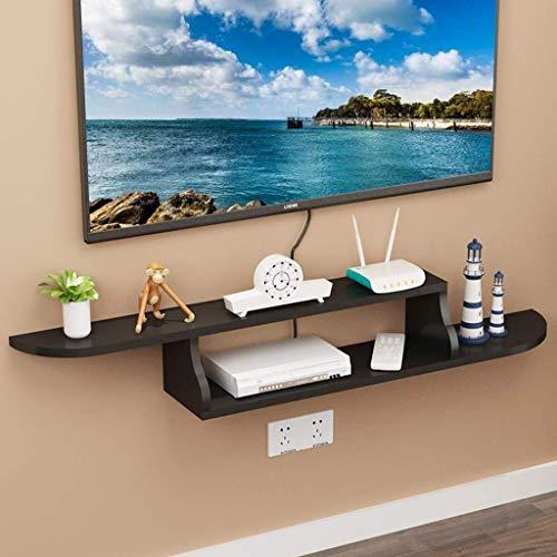 MWPO Estante de Pared Flotante TV Rack Set Top Box Estante Consola de TV Sala de Estar Dormitorio TV Decoración de Pared Decoración de Muebles (Negro)
