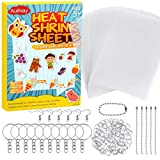 Auihiay 145 Pieces Heat Shrink Plastic Sheet Kit Include 20 PCS Shrinky Paper with 125 PCS Keychains Accessories for Kids Creative Craft
