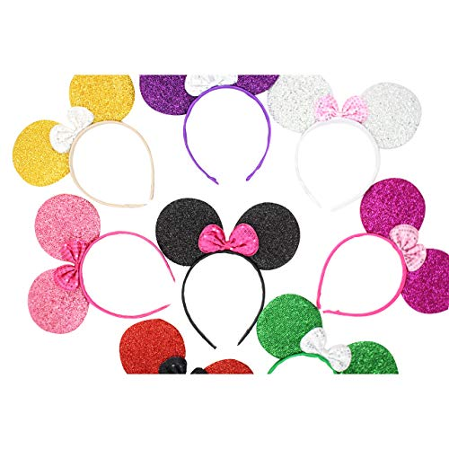 Micky Minnie Mouse Oren pak van 8 Kinderen Volwassenen Haarbanden Hoofdband Fancy Jurk Zwart Cerise Paars Zilver Rood Blauw Gouden Roze Hen Party Night Halloween Fancy Jurk Meisjes Jongens 8 Stuks