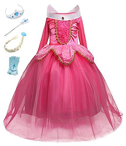 Eleasica Abito da Principessa Ragazze Travestimento Costumi Bambine La Bella Addormentata Abito da Sera Regalo Compleanno Vestito Natale Carnevale Corona Bacchetta