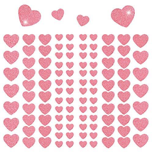 Oblique Unique® 106 Herz Aufkleber mit Glitzer Effekt in Rosa Selbstklebend Herzen Sticker Scrapbooking Basteln Verzieren Deko