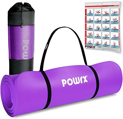 POWRX Gymnastikmatte Premium inkl. Trageband + Tasche + Übungsposter GRATIS I Hautfreundliche Fitnessmatte Phthalatfrei 190 x 60, 80 oder 100 x 1.5 cm I versch. Farben Yogamatte (Lila, 190 x 60 x 1.5 cm)