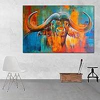 絵画キャンバスカラフルなバッファローの壁の写真リビングルームの動物アートキャンバスプリントアートポスター装飾50x75cmフレームレス