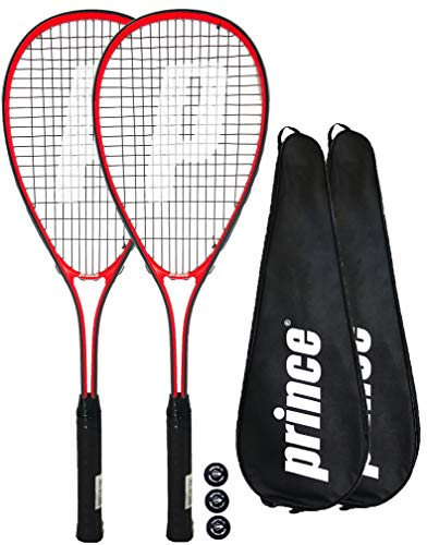2 x Prince Power Warrior Ti raquetas de squash + Covers + 3 Squash Bolas