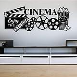 Cine en casa Cine Logo Letrero Cámara de video Película Cinta de película Palomitas de maíz Etiqueta de la pared Vinilo Arte Calcomanía Dormitorio Sala de estar Teatro Club Estudio Decoració