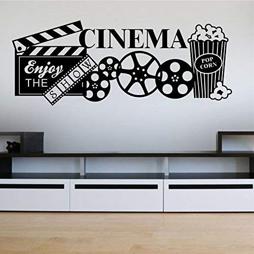 Pegatina de pared de cine en casa, palomitas de maíz, calcomanía de pared, decoración de salón de películas, decoración de pared artística extraíble, papel tapiz A8 106x42cm