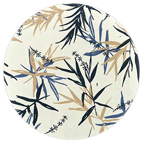 DJROWW Alfombra redonda azul beige de bambú con hojas y flores antideslizante para sala de estar, dormitorio, estudio, niños, sala de juegos, decoración del hogar 5.2 '