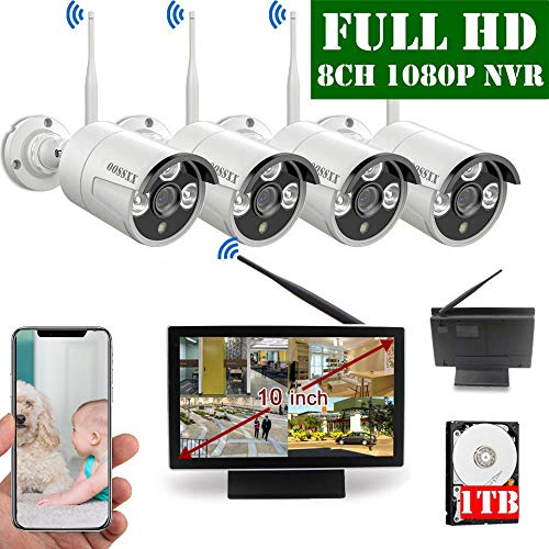 Find Cheap 【2020 Update】 10 inch Screen HD 1080P 8-Channel Outdoor Wireless Security Camera Syst...