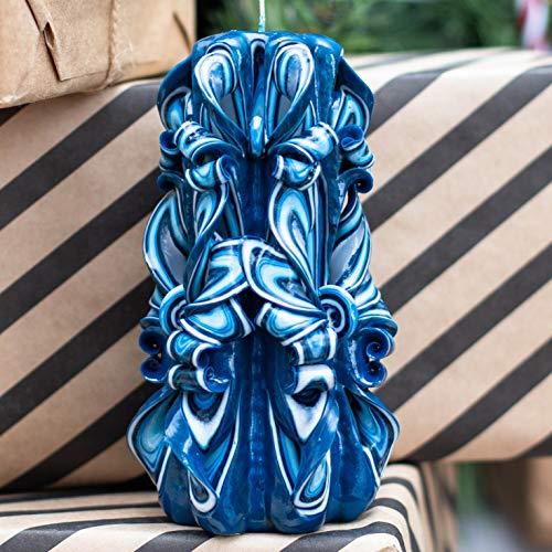 Vela tallada en azul oscuro hecha a mano - Vela original para un regalo para ella y ella - Vela de regalo de...