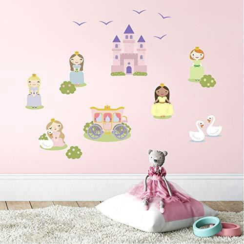 Klebekerlchen Wandsticker für das Kinderzimmer, Wandtattoos für Kinder mit Schloss & Prinzessin, selbstklebend - Prinzessinnen (Set mit 17 Motiven)
