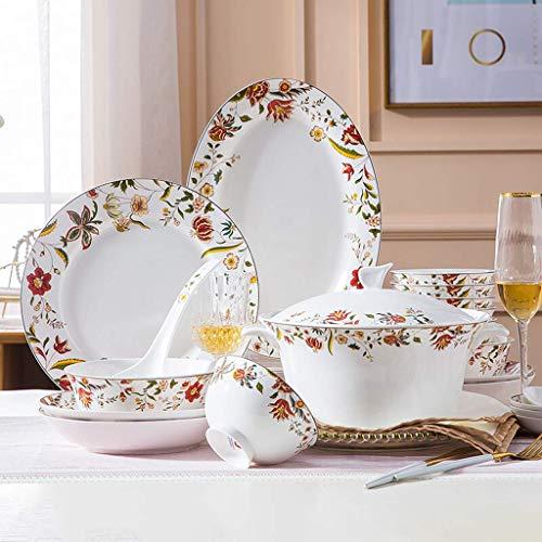 JHSHENGSHI Plato Llano Vajillas, Cuenco para Cereales y Olla y Plato para Sopa de cerámica |Juego de vajilla de Porcelana China de 56 Piezas para Regalos de BOD