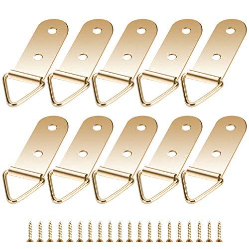 10 Stück Bildaufhänger3-Loch-Dreieck Haken Gold Zackenaufhänger Bilderrahmen mit Schrauben für Haus Büro Foto Bild Malerei Hängen, Sortiert-K