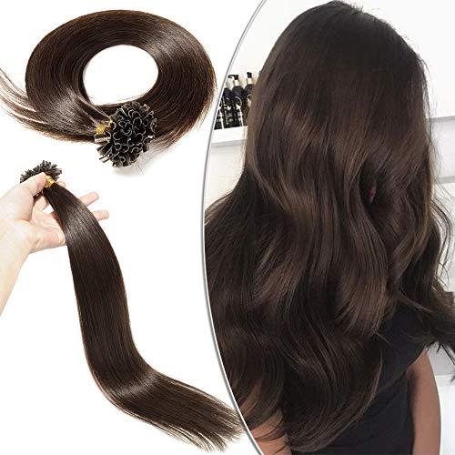 Extension Capelli Veri Cheratina - 100 Ciocche 50g 100% Remy Human Hair 45cm Capelli Naturali Indiani #2 Marrone Scuro