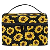 Sunflowers Makeup Bag Retro Floral Yellow Flowers Cosmetic Toiletry Travel Brush Bags with Zipper Beauty Train Case Carrying Portable Multifunctional Organizer Storage Pouch Box for Women Girls