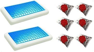 موون مخدة جل الطبية الباردة قطعتين مقاس 70x40 سم مع غطاء وسادة فارغ مقاس 75x50 سم، ستة قطع ، KPCM-012