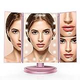 HOMEVER Miroir Maquillage, Miroir Grossissant Lumineux avec 21 Lampes LED, Magnification 1x 2X 3X, Pliable, Rotatif de 180 Degrés, Alimenté par Batterie ou USB Câble, Mise à Niveau en 2019 (Or Rose)