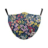 eBoutik - Fashion Flower Print Face Masks with Filter Slot - Reuseable Washable Face Coverings for Social Distancing (Wild Willows)