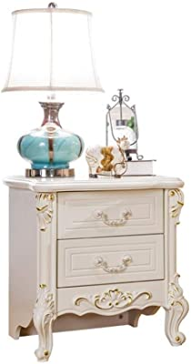 LIZANAN European-Style Wooden Carved Bedside Table French Pastoral Delicate Storage Cabinet Corner Table (Color : White, Size : 50x40x53cm)
