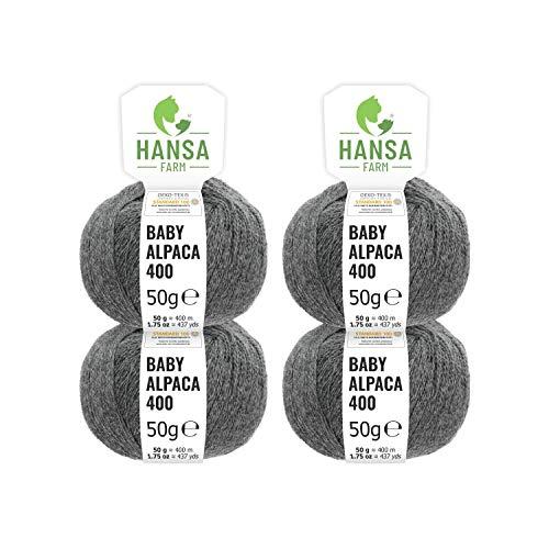 100% Baby Alpakawolle in 50+ Farben (kratzfrei) - 200g Set (4 x 50g) - weiche Alpaka Wolle zum Stricken & Häkeln in 6 Garnstärken by Hansa-Farm - Dunkelgrau (Grau)