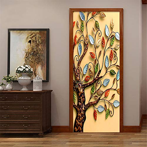 Abstract Tree Door Sticker 3D Vinyl Mural Self Adhesive Removable Wallpaper Decal Interior Doors Bedroom Living Room Decor for Home 90 * 200Cm