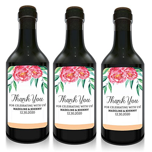 "Mini Wine Bottle Label for Wedding Celebrations, ""Thank you for celebrating with us!"", Personalized, Customizable, Mini Wine Bottle Label Stickers- Floral Design- set of 10"