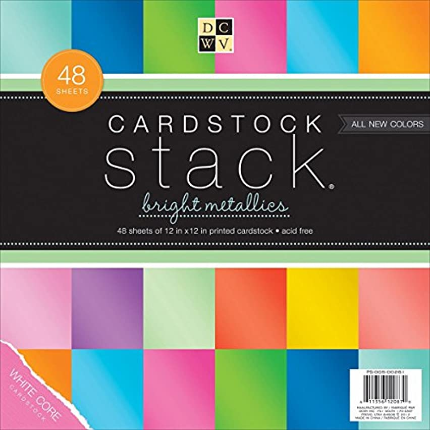 DCWV Cardstock Stack, Bright Metallics, 48 Sheets, 12 x 12 inches