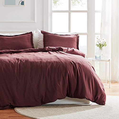 SLEEP ZONE Bedding Duvet Cover 90x90 inch Temperature Management 120gsm Soft Zipper Closure Corner Ties 3 PC, Burgundy,Full/Queen
