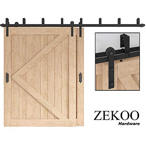 ZEKOO 5-16 FT Low Ceiling Bracket Bypass Barn Door Hardware Hinges Double Door Kit Rustic Black Steel Metal Rail Roller Set (10 FT New Style Bypass kit)