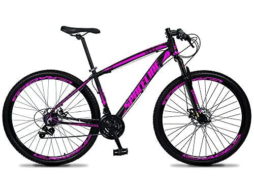 Bicicleta 29 SPACELINE VEGA Câmbio Shimano 21V Freio Disco (Preto-Rosa, 17)