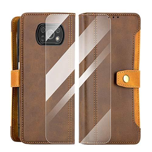 SCOOL Leder Handyhülle für Xiaomi Poco X3 NFC, Handyhülle Handystand Kartenfächern Luxuriöse Aussehen Leder Flip Cover Brieftasche Etui Schutzhülle für Xiaomi Poco X3 NFC – braun