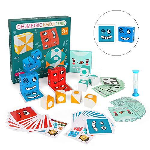 Holzwürfel Spielzeug, Puzzle Building Cube, Emojie-Würfel-Spiel, Zauberwürfel-Bausteine, Montessori Spielzeug, Gesicht ändern Würfel, Denk-Training Lernspielzeug, Geschenk für Kinder Vorschule