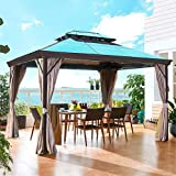WSN Hardtop Gazebo,Canopy Top with Netting Curtains and Sidewalls, Polycarbonate Top and Aluminum Frame