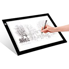 EASY CARRYING -- Light weight super slim light pad, thickness only 0.2'', about 5mm. Overall dimension including black frame is L14.2''xW10.6''xH0.2''. The visual working area is 9''x12''. ADJUSTABLE BRIGHTNESS -- Simply keep pressing the touch switc...