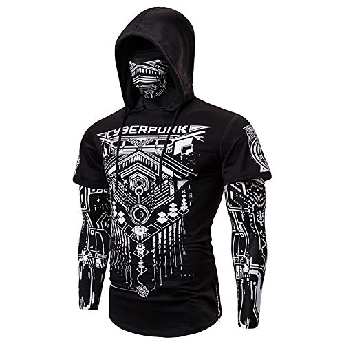 G&Armanis Shop Kapuzenpullover für Unisex, Cyberpunk-Baumwoll Sweatshirt Maske abstrakte Bedruckte Langarm-T-Shirt,1,M