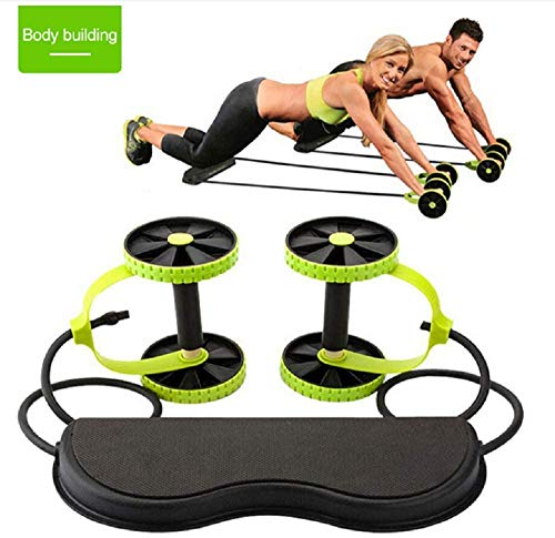 HOME CUBE 1 Pc Foldable Revoflex Xtreme Rally Multifunction Pull Rope Wheeled Health Abdominal Muscle Training Home Fitness Equipment - Green Color