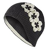 Fashy - Gorro de baño para señora con diseño de flores superpuestas, color negro y blanco
