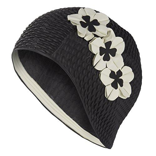 Fashy - Cuffia da nuoto da donna, con 3 fiori bianchi, stile vintage retrò