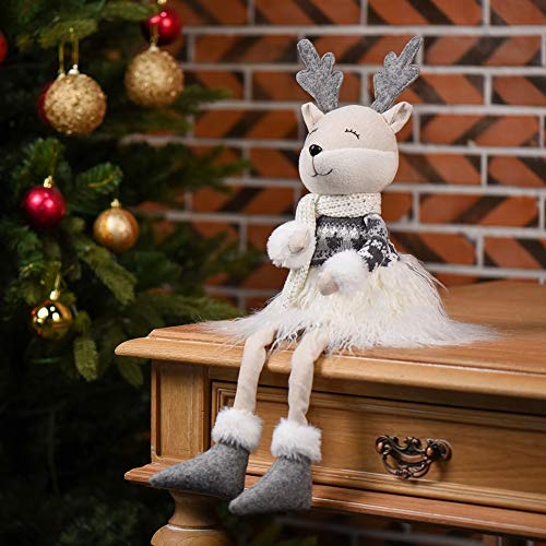 WORLDECO Christmas Deer 2020 Ornaments Long Legs, Xmas Swedish Handmade Plush Horns, Santa Elk Home Decorations Gift 24.5 inch