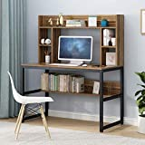 Computer Desk with Bookshelf 47 Inches Modern Writing Desk with Hutch Storage Shelves Home Office PC Laptop Study Table Workstation (Ship from US) (47x22.4x54.3 in, Brown)