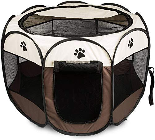 Mediawave Store - Tenda Box per Cani Recinto Cuccia per Piccoli Animali Pop-Up Beige 76x58 cm