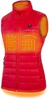 [2019 Upgrade] Women's Heated Vest with Battery Pack, YKK Zippers and Water&Wind Resistant Red