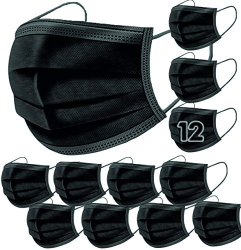 12 Mascarillas Higienicas NEGRAS The Pink House. Máscaras no quirurgicas, Desechables de 3 capas de protección · Certif. CE · Protección y Seguridad