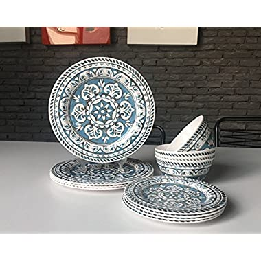 Hware 12 Pcs Melamine Break-Resistant Indoor Outdoor Dinnerware Set Service For 4 Round Pattern,Blue