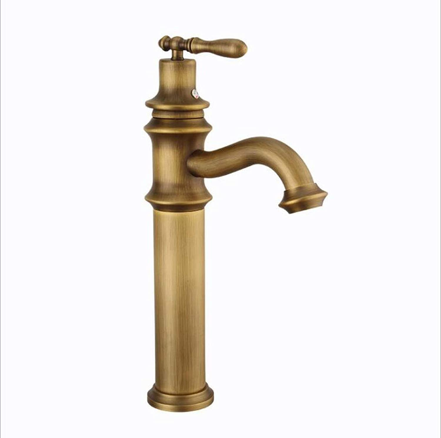 KAIDEFI European Style All Copper Antique Bathroom Sink Faucet Cold And Hot Mixing Faucet Retro Basin Faucet Creative Single Hole Table Basin Faucet